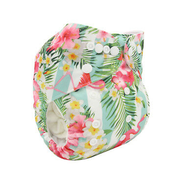 Modern Cloth Reusable Washable Baby Nappy Diaper & Insert, Tropical Flamingos
