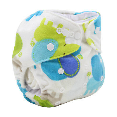 Modern Cloth Reusable Washable Baby Nappy Diaper & Insert, Minky Elephants