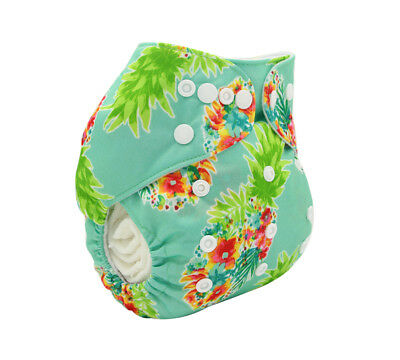 Modern Cloth Reusable Washable Baby Nappy Diaper & Insert, Tropical Pineapple