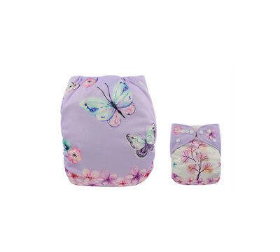Modern Cloth Reusable Washable Baby Nappy Diaper & Insert, Purple Butterflies