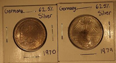 Lot of (2) German 5 Marks Silver Coins 1970 & 1979