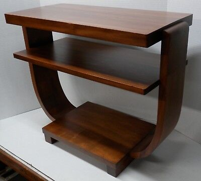Mid Century Modern 3 Tiered Art Deco Bent Wood Atomic Coffee/Side/Planter Table