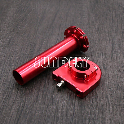"""7/8"""" Red CNC Handle Bar Grips Accelerator Throttle Twist Grip For Motorcycle"""
