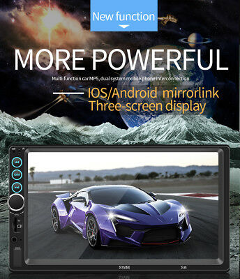 "7"" 2Din Touch Screen Car MP5 Player Bluetooth Stereo FM Radio USB/TF AUX Mirror"
