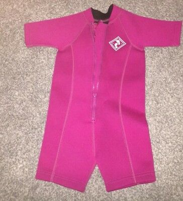 Two Bare Feet baby girl classic wetsuit - Size 6-12 Months in raspberry