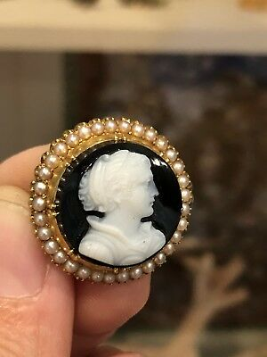 Antique Victorian Carved Hardstone Onyx Cameo Seed Pearls & 14k Gold Pin Brooch