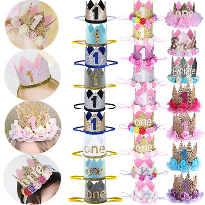 Baby Girl Boy 1st Birthday Party Hat Cake Smash Sequin Princess Crown Tiara Hair