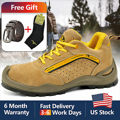 Safetoe Safety Shoes Mens Work Steel Toe Breathable Lightweight Yellow US Size
