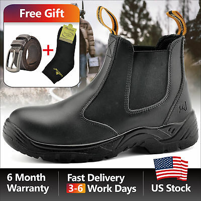 Safetoe Safety Work Boots Mens Shoes Steel Toe Black Anti-static Slip On  M-8025