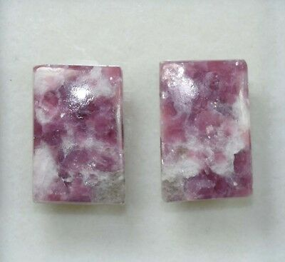 Pair  26.45 Cts. 100 % Natural Lepidolite Untreated Cushion Cab Loose Gemstones