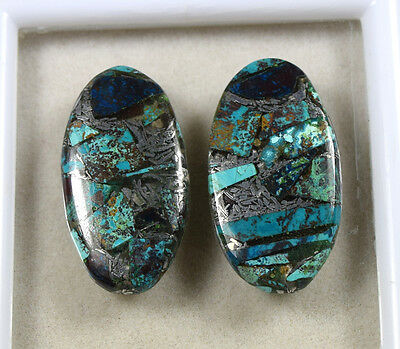 Lovely Pair  !  19.90 Cts. Natural Silver Azurite  Oval  Cab For  Earrings