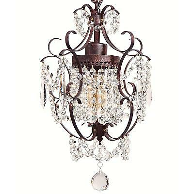 Starthi Bronze Mini Crystal Chandelier, Wrought Iron Ceiling Pendant Chandelier