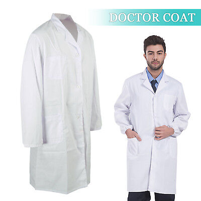 White Lab Coat Laboratory Unisex Warehouse Doctor Work Wear Hospital Technician