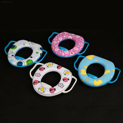 Washable Cartoon O Shaped Toilet Seat Cover With Handles Polyester Case