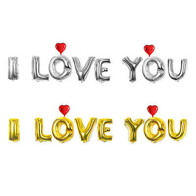 """16"""" Letters  ''I Love You '' Foil Balloons Set Wedding Party Decor -Gold /Silver"""