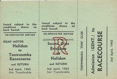 1965 Brisbane Toowoomba Racecourse 3 Part Ticket Gent  3rd April 1965