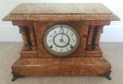 Antique Working SETH THOMAS Fancy Victorian Adamantine Mantel Shelf Clock c.1880