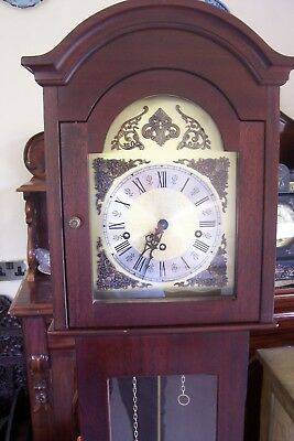 "FHS Hermle Grandmother Clock 59"" Tall Key Wind Strikes on 5 Rods Number 351-020"