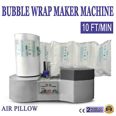 Air Pillow Cushion Wrap Maker Wrapping Machine Film Packing 10 ft/min +Free Bag