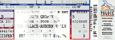 Josh Groban 2007 Auburn Hills, MI Unused Concert Ticket