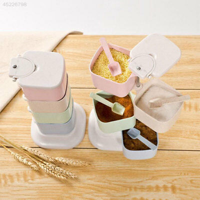 Practical Creative Rotatable Four Grid Lid Vertical Condiment Box With Spoon Kit
