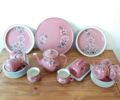 Large Collection Of Denby Pottery Damask 25 Items Tea Set And Cake Plates