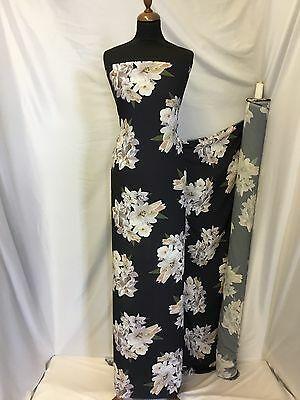 """Beautiful 100% Polyester Chiffon Georgette Large Floral Print Fabric 59"""" 151cm"""