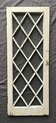 Antique 22 Lite Casement Cupboard Diamond Window Cabinet Door Vtg Chic 398-18E
