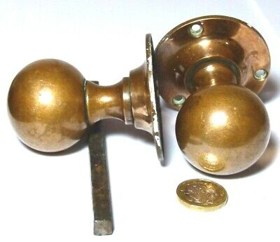 Pair Antique Bronze Art Deco Door Sperical Knob Handles1930S