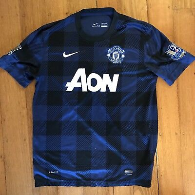 Manchester United 2013-14 away jersey blue nike men's large adnan januzaj