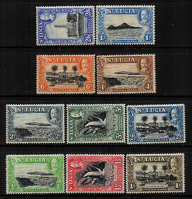 St Lucia 1936 KGV Definitives to 2/6 (10) - SG 113/122 - FM