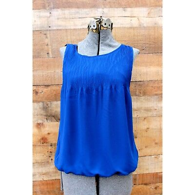Max Studio Blue Blouse  NWT NEW Small Pleated Lined  $78