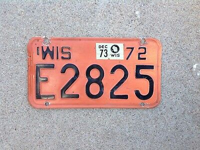 1972 Wisconsin Motorcycle License Plate