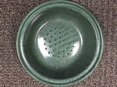 Vintage Green Spatter Graniteware Enamel Colander Strainer - Near Perfect