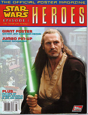 Lot Of 7 Star Wars Phantom Menace Heroes Poster Magazine Obi Wan Kenobi New