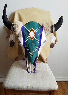 Hand painted Buffalo Skull With Imitation Eagle Feathers