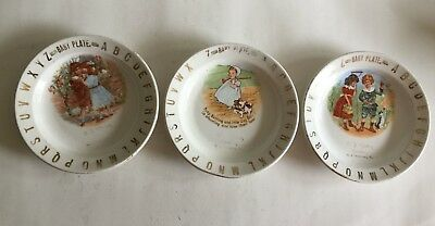 Lot of 3 1900's Advertising Baby Plates from C. J. Yates, Grocer, Pittsburg, Pa.