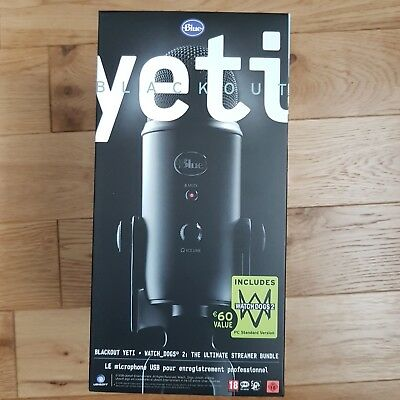 Blue Yeti Blackout usb microphone with Watch Dogs 2 bundle, new