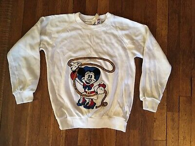 MINNIE MOUSE Vintage Mickey 3D Chenille Patch Embroidered  SWEATSHIRT M