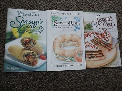 Vtg Advertising Cookbook Booklet lot of 3 Pampered Chef Seasons Best 98, 99,04