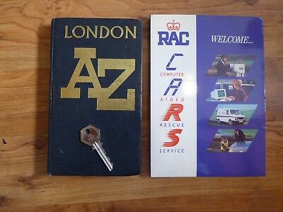 Vintage RAC Manual with original Telephone Box Key and London A to Z map.