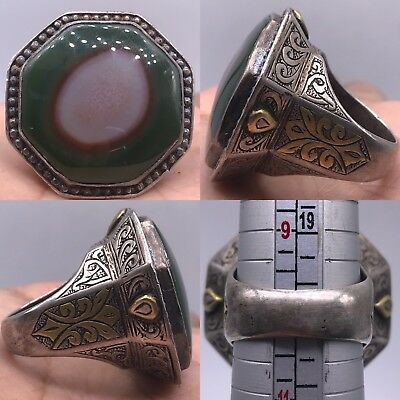 Wonderful Antique Rare Unique Agate Stone Solid Silver Old Ring 38GR