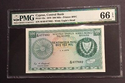 PMG Graded Central Bank Of Cyprus 500 Mils Banknote 1979 Pic 42c Gem Unc