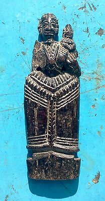 1850 Antique Indian Carved Wooden Doll, Gujerat