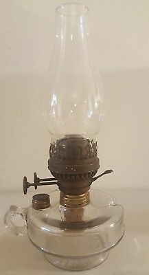 Antique 19th C. Edward Miller Oil Lamp Lantern with E.M. Brass Duplex Burner