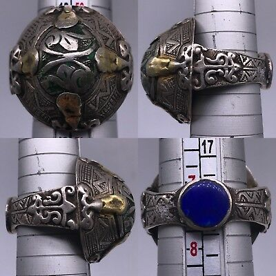 Ancient lapis Stone silver Gold gilded Beautiful Rare Lovely Ring