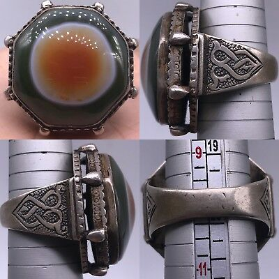 SUPER AMAZING VERY OLD SILVER SOLID RING OLD RARE AGATE STONE 30Gr