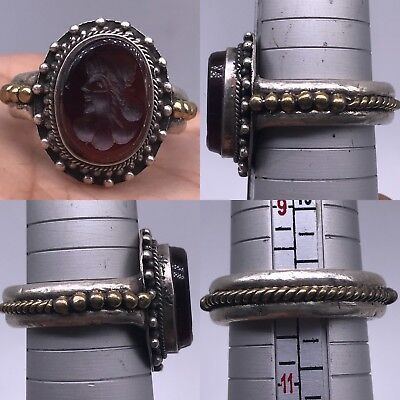 Old silver Rare Agate stone Running Roman face Intaglio Wonderful Ring