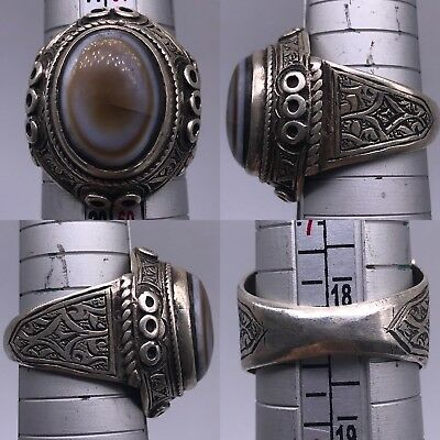 Lovely  Solid Rare Silver Agate stone Unique Old wonderful Ring 13Gr