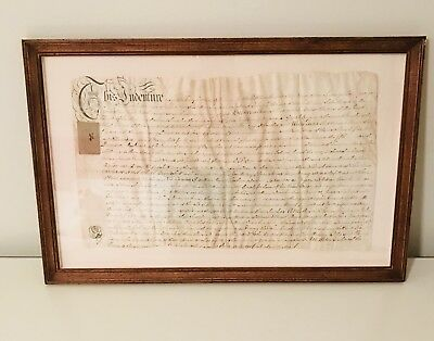 Uniquely Framed Deed Of Sale For Church Pew, UK 1775 (Topsham)